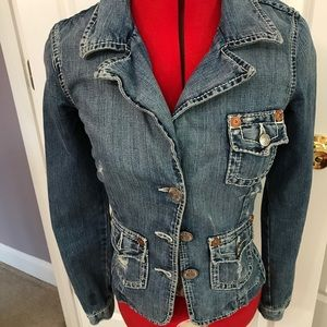 TRUE RELIGION denim jacket distressed EUC XS